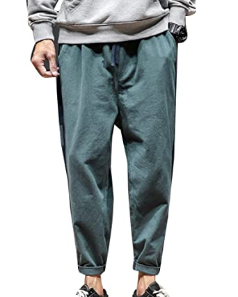 559e9ada559 LaoZanA Mens Harem Pants Elasticated Waist Chino Hippie Baggy Casual Wide  Leg Ankle Trousers Plus Size  Amazon.co.uk  Clothing