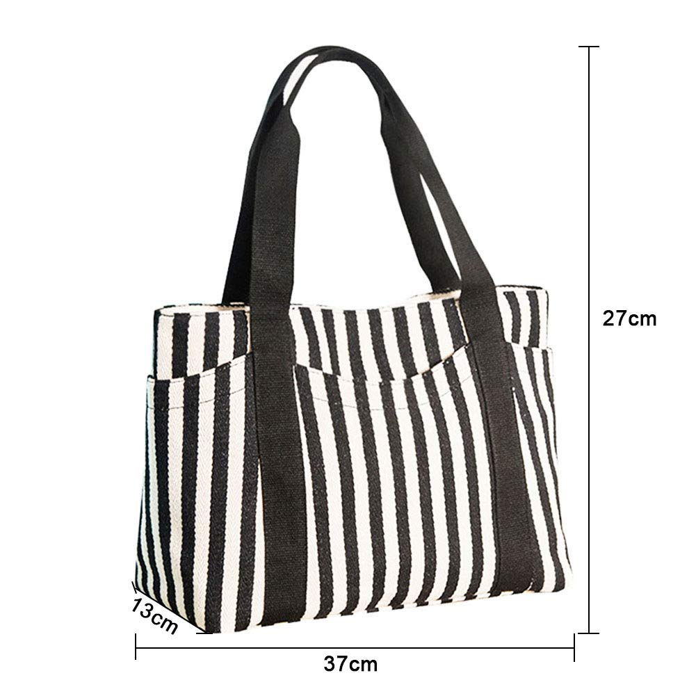 c5e98ea2d lightclub Women Fashion Black and White Navy Blue Stripes Canvas Single  Shoulder Handbag Zipper Cloth Purse Tote Bag For Daily Life, Shopping,  Travel, ...
