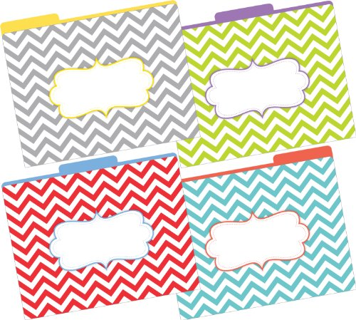 Barker Creek - Office Products 1/3 Cut Tabs Reversible Letter-Size Fashion File Folders, 12-Count (LL-1331)