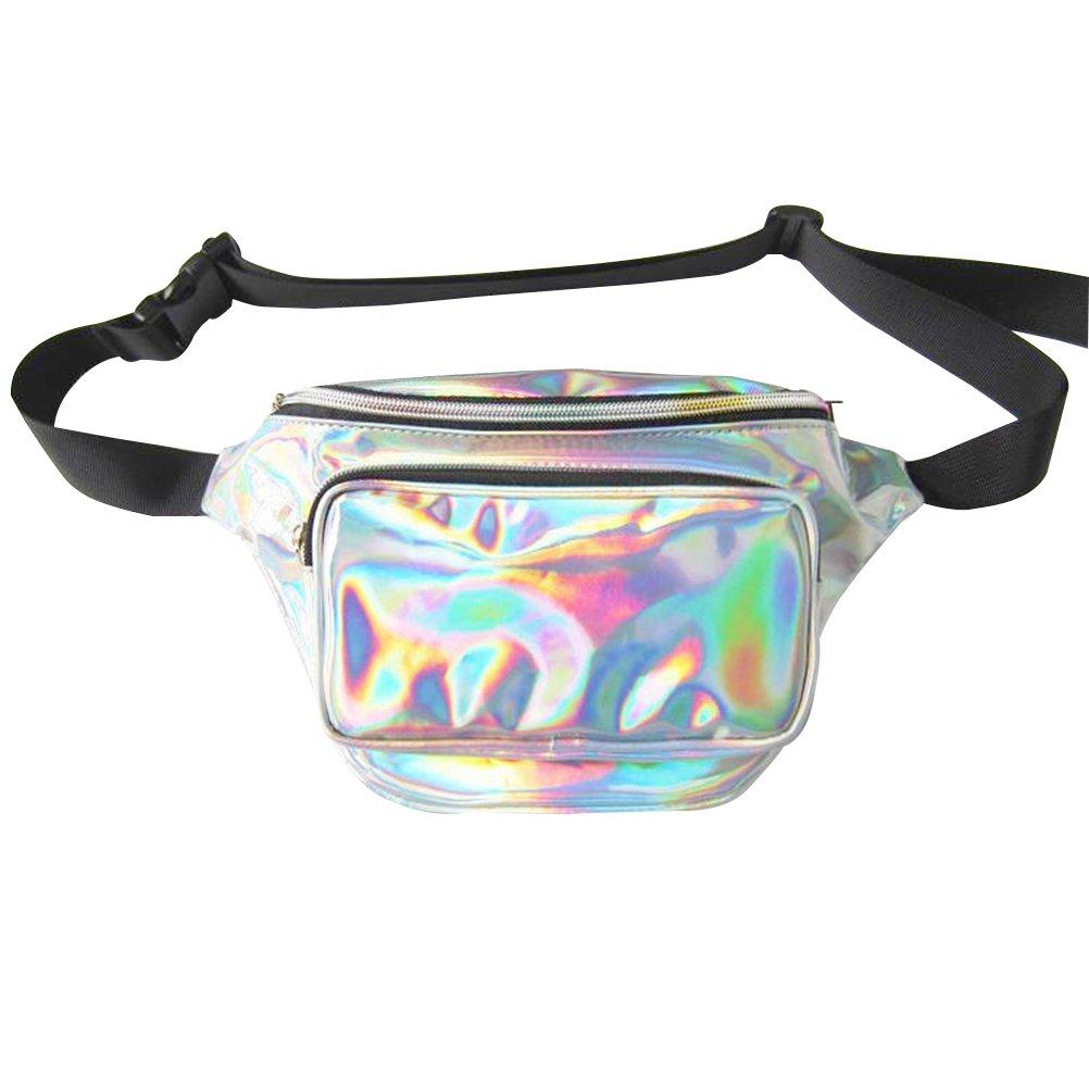VORCOOL Frauen Hüfttasche Holographic Bauchtasche Wasserdichte Sporttaschen 80er Hüfttasche Mode Gürteltasche für Outdoor (Silber)