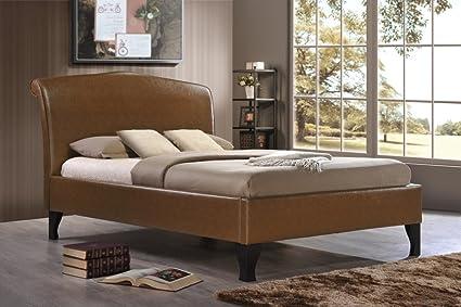 Andorra cama Tan feliz camas colchones dormitorio tradicional acabado en piel sintética, canela, 4FT6