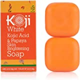Koji White Kojic Acid & Papaya Skin Brightening Soap (2.82 oz / 2 Bars) - with Hyaluronic Acid for Smooth Face & Body, Dark S