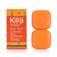 Koji White Kojic Acid & Papaya Skin Brightening Soap (2.82 oz / 2 Bars) - with Hyaluronic Acid for Smooth Face & Body, Dark Spot, Acne Scars, Uneven Skin Tone - Hypoallergenic & Dermatologist Tested