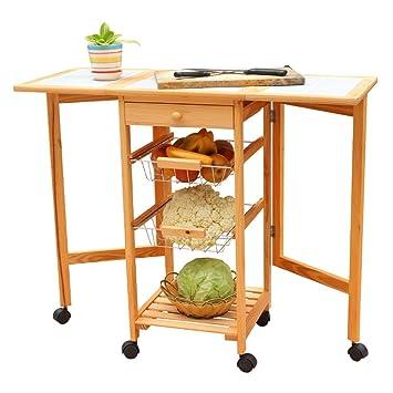 Wondrous Amazon Com Hlwawa Rolling Wood Kitchen Island Storage Forskolin Free Trial Chair Design Images Forskolin Free Trialorg