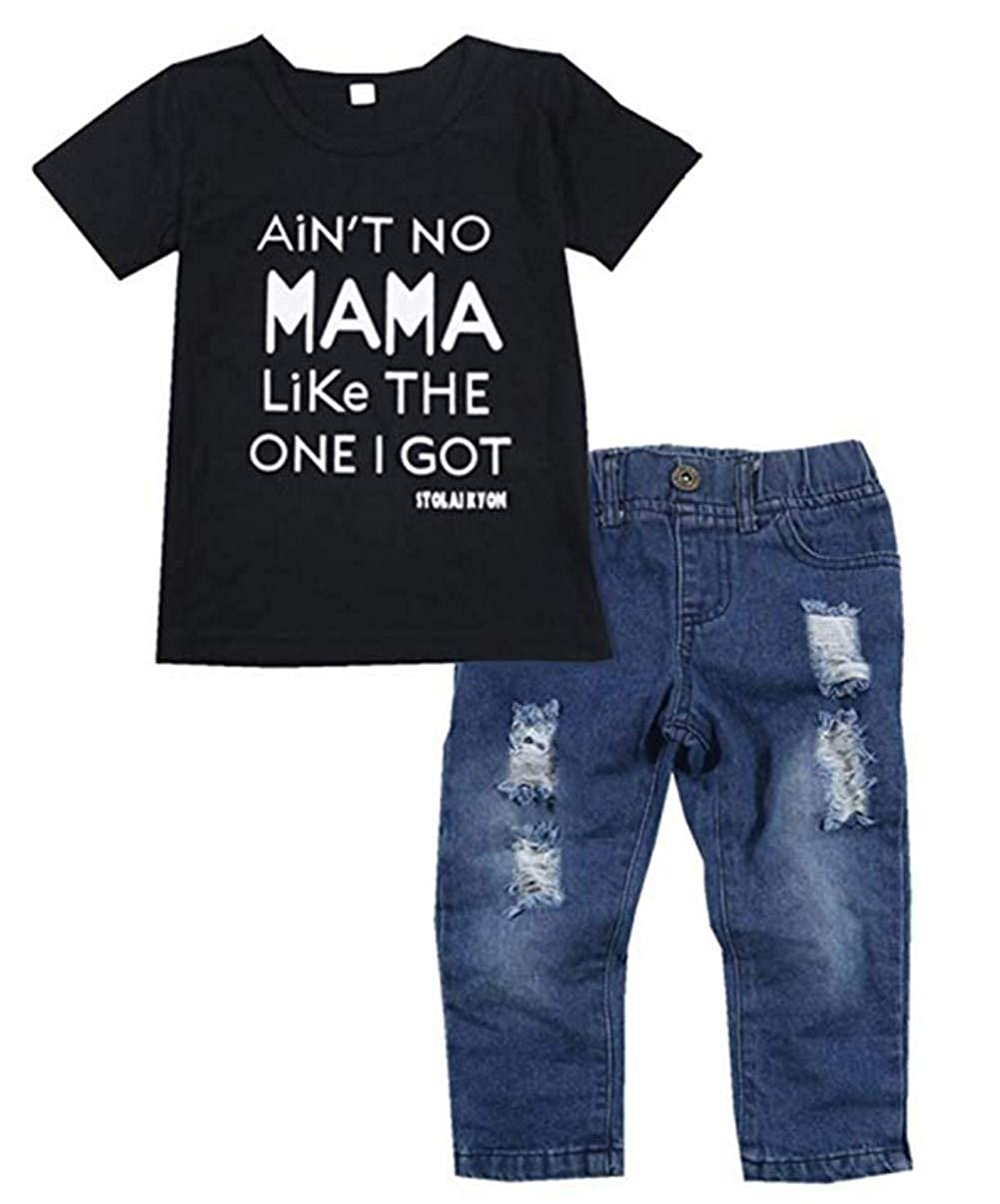 Kids Baby Boy Ain't No Mama Like The One I Got Letters Print Short Sleeve T-Shirt +Denim Pants Outfits Set MNLYBABY