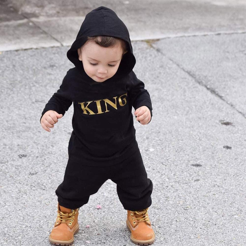 Toddler Kids Baby Letter Boys Girls Hoodie Outfits Clothes Romper Jumpsuit Kobay Baby Unisex Romper