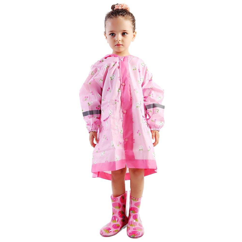 EsTong Children Big Hat Rain Jacket 3D Cartoon Portable Poncho PU Raincoat with Hoods