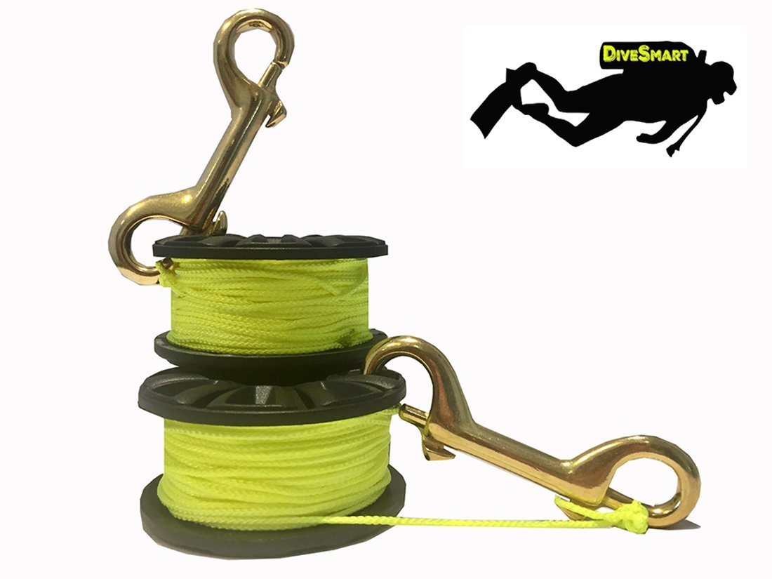 75ft, 100ft, 150ft for Cave and Wreck Exploration and Scuba Diving DiveSmart Finger Spool Reel with Double Ended Brass Hook and High Visibility Neon Yellow Line