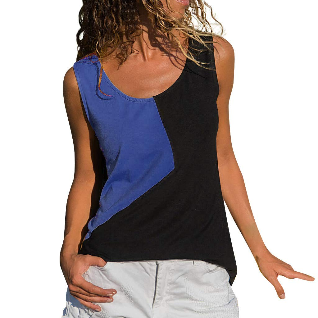 Shirts for Womens Causal Sexy Vest Irregular Splice Sleeveless Solid Blouse Tops Shirts Navy