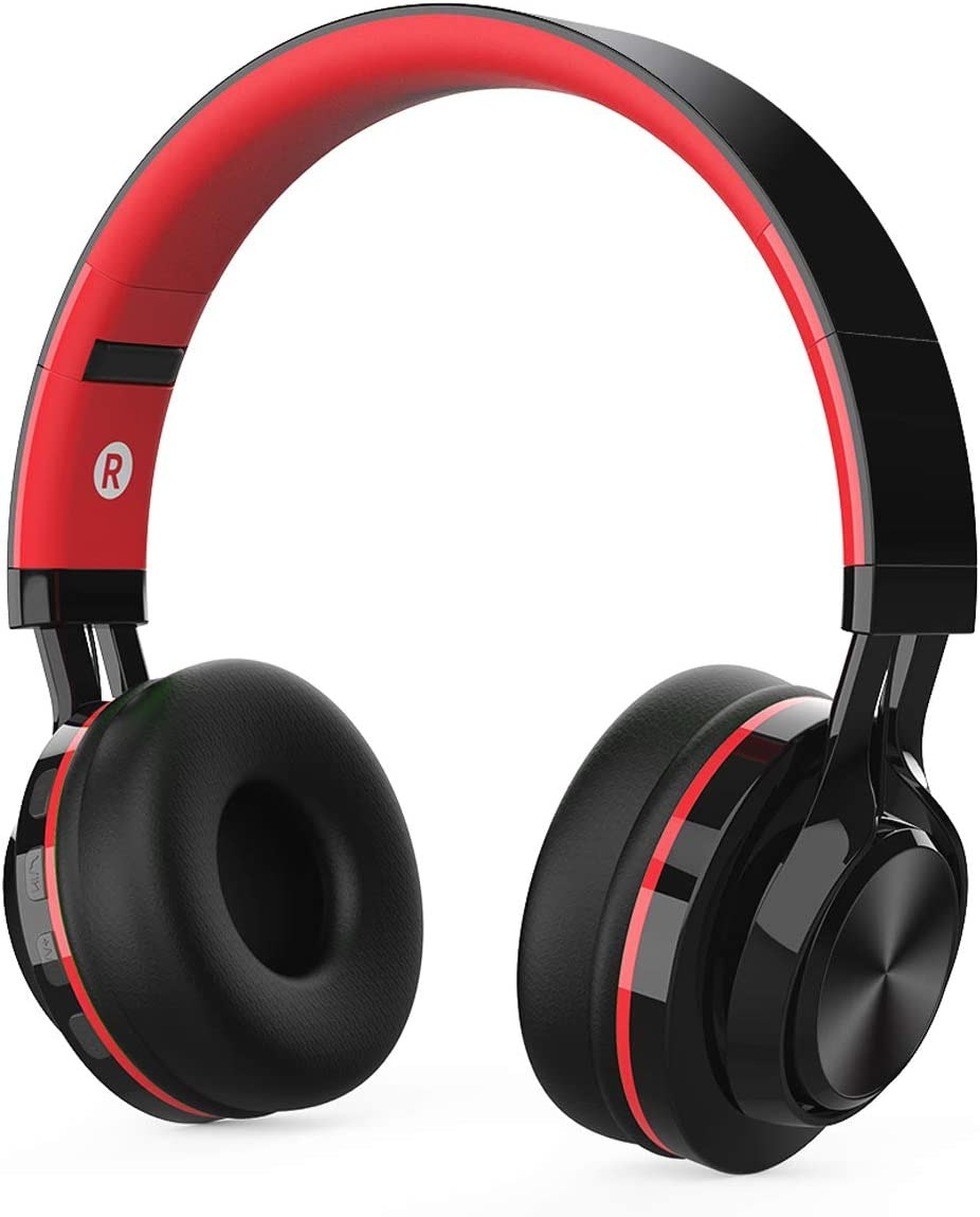 Kids Headphones, Children Wireless Bluetooth Foldable Headphones Over Ear, Hi-Fi Stereo Boys Girls Adults Headphones Built-in Microphone Compatible with MP3 Gift School Airplane Smartphones Red