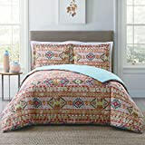 3 Piece Full/Queen Orange, Purple & Multicolored Comforter Set, Down Alternative Bedding Bedroom Set, Bohemian & Graphic Pattern, Casual & Southwestern Style, Cotton/Polyester Material, Machine Wash