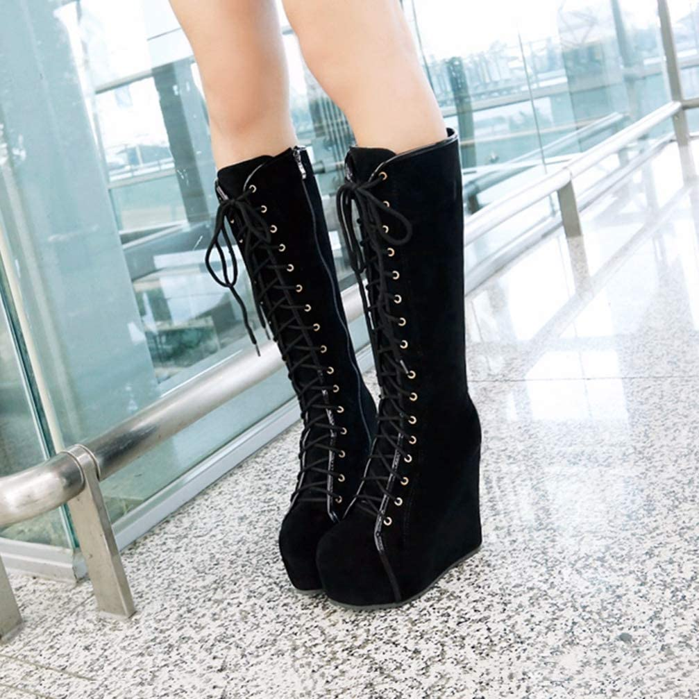 Details about  /Women Platform Round Toe Wedge High Heels Lace Up Strappy Mid Calf Leather Boots