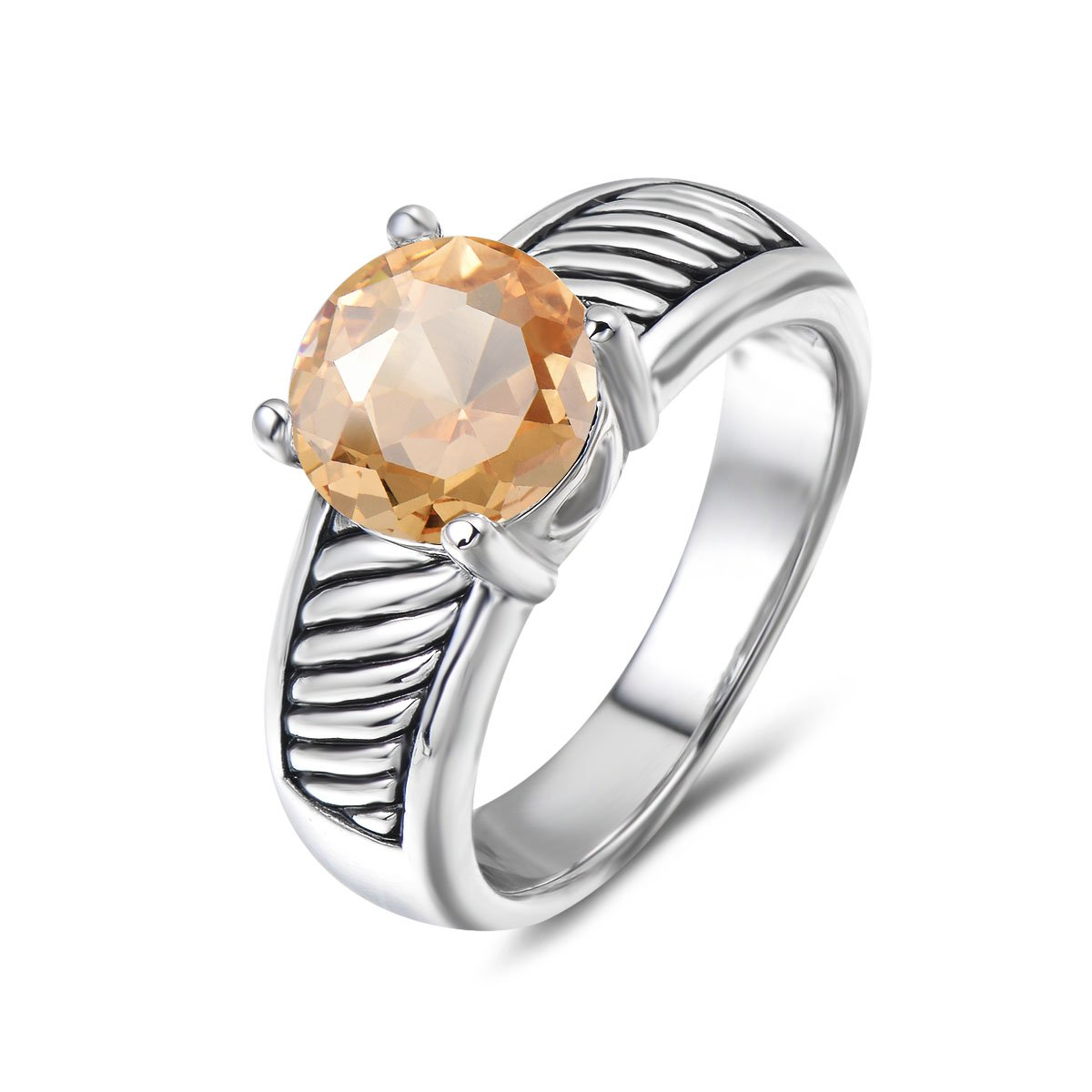 UNY Ring Vintage Antique Femme Designer Fashion Brand David Jewelry love Wedding Christmas Valentine Gift (7, champagne-zirconia)
