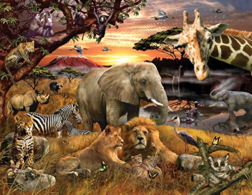 (Springbok Puzzles - Wild Savanna - 400 Piece Jigsaw Puzzle - Large 26.75 Inches by 20.5 Inches Puzzle - Made in USA - Unique Cut Interlocking Pieces - Big Pieces for Kids & Small Pieces for Adults)