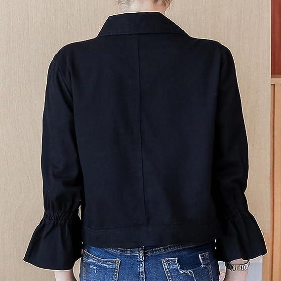 Huiwa Womens Denim Jacket Loose Solid Short Coat Flare Sleeve Button Pockets at Amazon Womens Coats Shop