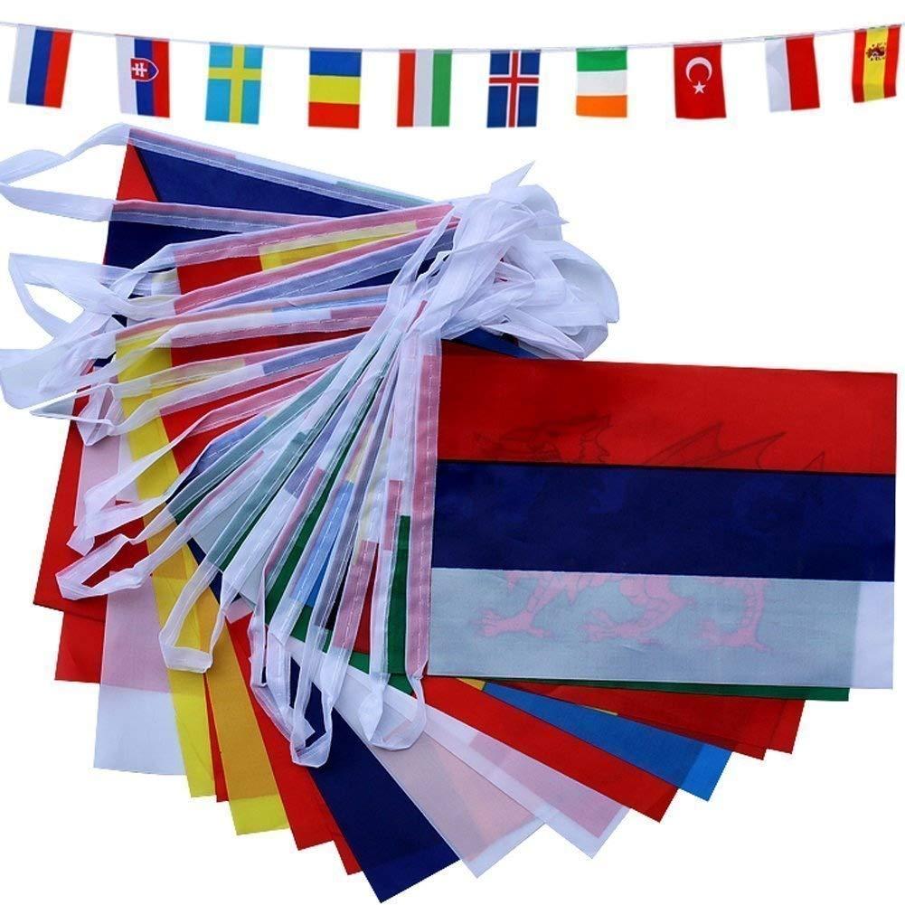 D&&R Banderines de la Copa del Mundo de Fútbol, banderas para la Copa Mundial de la FIFA 2018, tela de 8 m con 32 banderas de 8, 27 x 5, 52 pulgadas, ...