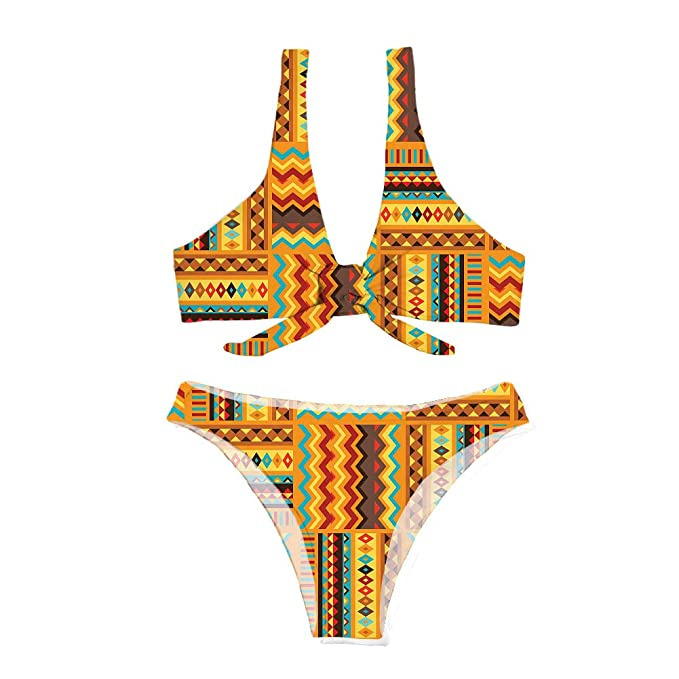 7d96a8f678 Salabomia Women Printed Two Pieces Bikini Aztec Ethnic Tribal Tie Knot  Front Swimwear S