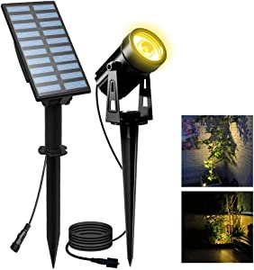 LED Landscape Solar Spotlights, T-SUN Waterproof Outdoor Solar Lights Auto ON/Off Solar Wall Lights for Garden, Driveway, Pathway, Pool Area(Warm White)