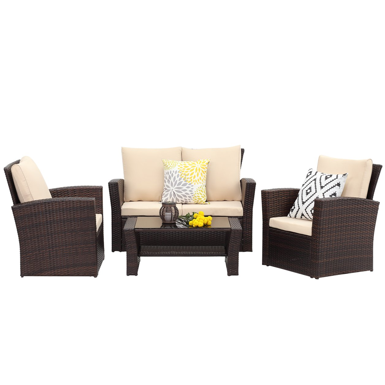 Wisteria Lane 5 Piece Outdoor Patio Furniture Sets Wicker