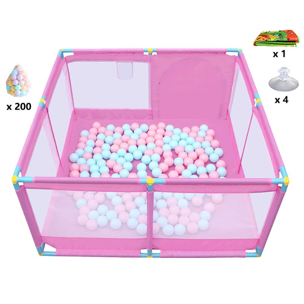 ベビーサークルプレイヤード アクティビティパネルとフロアマット付きプラスチックPlayard Baby Playpen 8サイド、ピンク、トール66cm (色 : Fence+Sucker+Mat+200 Ball)  Fence+Sucker+Mat+200 Ball B018WZQ97C
