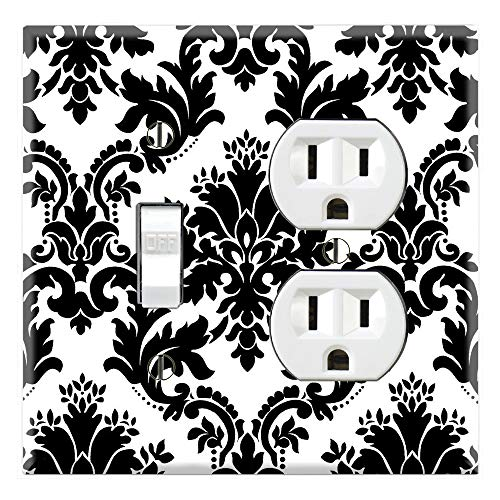 (Graphics Wallplates - Black and White Damask - Toggle Outlet Combo Wall Plate Cover)