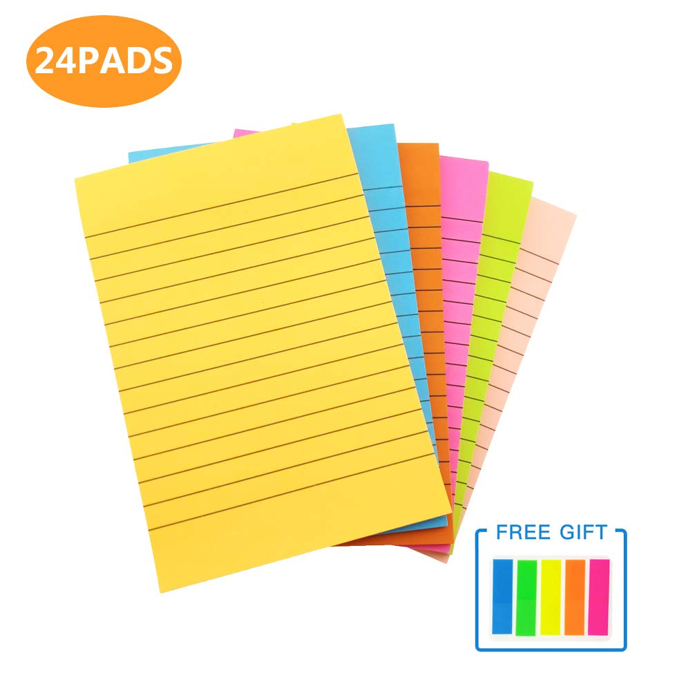 Big Sticky Notes with Lines 4x6'', Recycled Self Stick Notes Easy Post Adhesive Notes for Office,Home,School, Meeting, 6 Pads/Pack (24) by Anseal