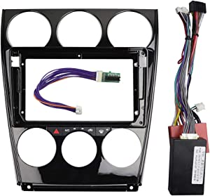 DKMUS Double Din 9 Inch Radio Stereo Dash Install Mount Trim Kit for Mazda 6 2004-2016 with Wiring Harness Control Box (Dash Kit + Harness)