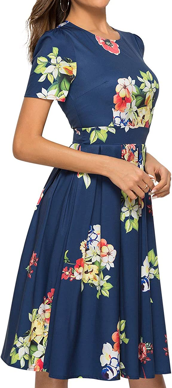 JOJJJOJ Womens 50s Floral Cocktail Vintage Retro Dresses Elegant Midi Evening Dress 3//4 Sleeves