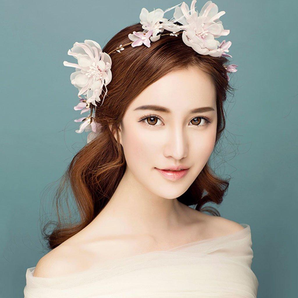 Wreath Flower, Headband Flower Garland Handmade Wedding Bride Party Ribbon Headband Wristband Hairband -Pink (Color : Pink)