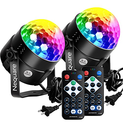 Nequare Party Lights Disco Ball Sound Activated Strobe Light 7 Lighting Color Disco Lights with Remote Control for Bar Club Party DJ Karaoke Wedding Show and Outdoor(3W) (2 PACK) (Bar Light Dj)