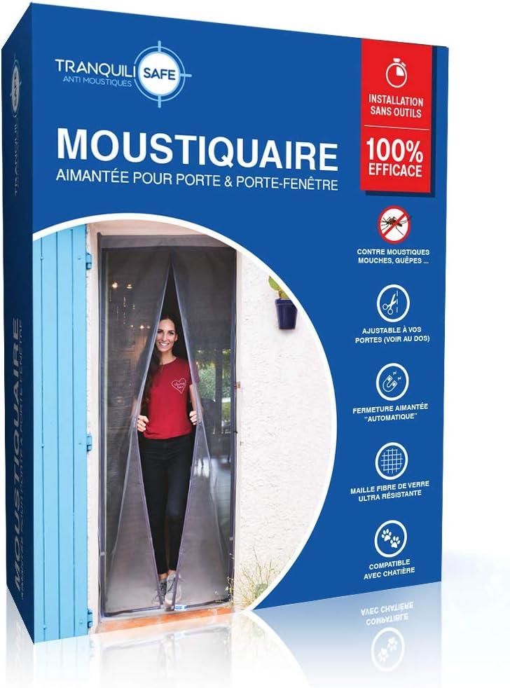 Tranquilisafe® - Cortina Mosquitera Magnética para puertas y puertas ventanas exterior - Mosquitera con cierre Magnético y automático - Compatible con las gateras (ANCHO 80/96 – ALTURA 207/215)