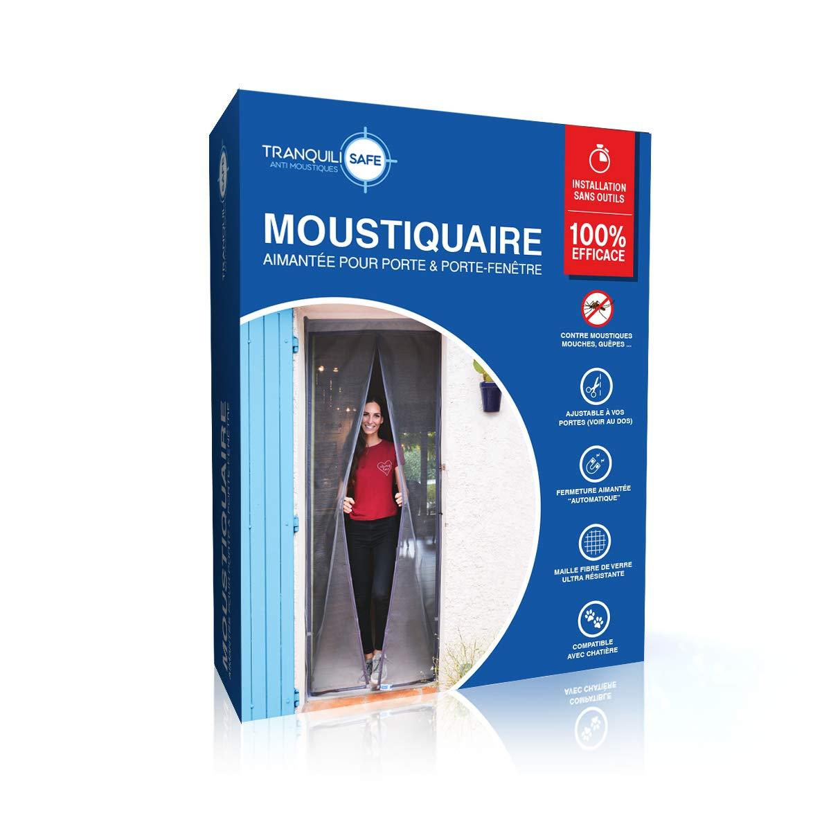 Tranquilisafe® - Cortina Mosquitera Magnética para puertas y puertas ventanas exterior - Mosquitera con cierre Magnético y automático- Mosquitera Compatible con las gateras (ANCHO 80/96 – ALTURA 207/215)