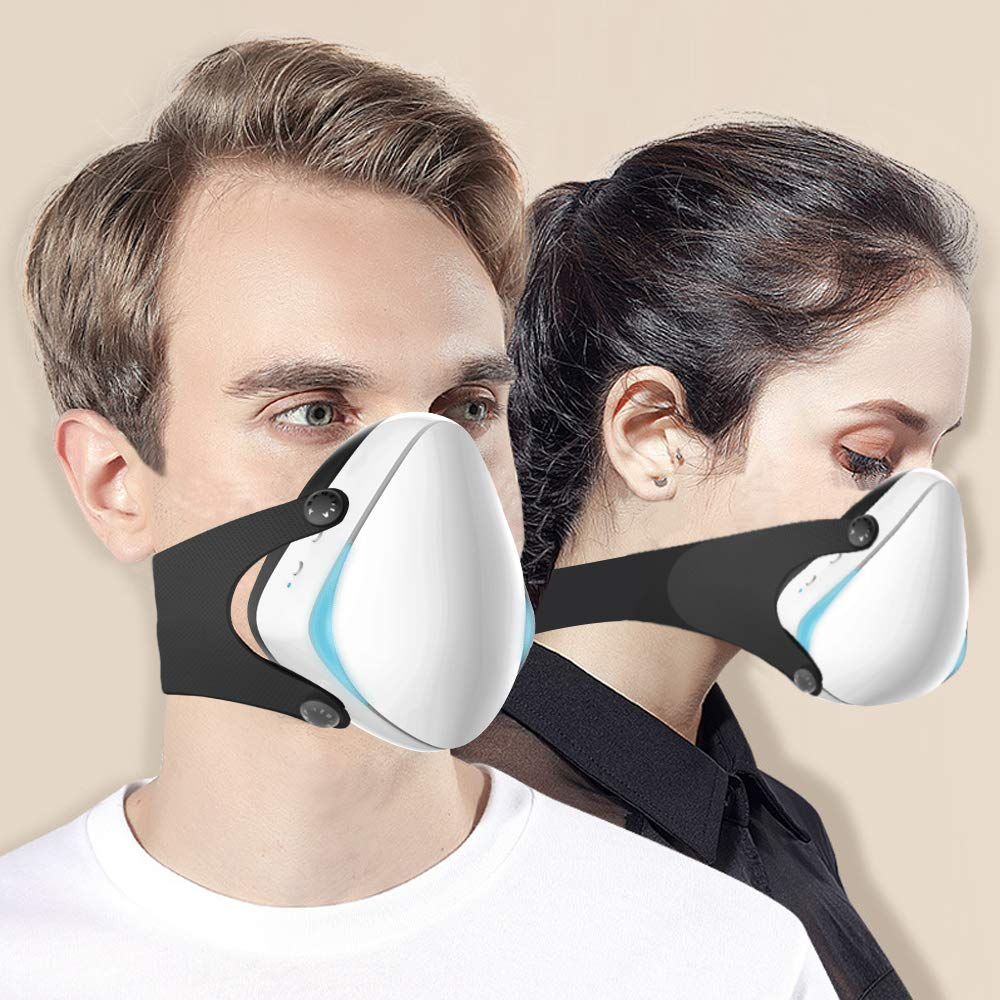 Smart Electric Masks - Medical Grade Fresh Air Purifying Mask with 10PCS Replacement Filters Anti Pollution/Anti Haze/Dust Proof Mask for Exhaust Gas, Pollen Allergy, PM2.5, Running, Cycling by Anna Home Collection (Image #7)