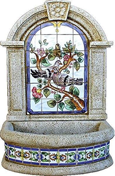 DEGARDEN Fuente Pared Gerbera Palomas hormigón-Piedra y Azulejos Exterior jardín 70X45X100cm.: Amazon.es: Jardín