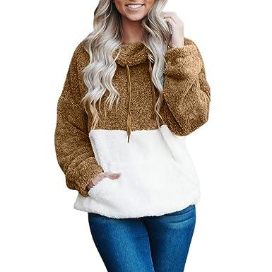 2c9bf330a0e48 Birdfly Women Fall Winter Fleece Plush Patchwork White Kangaroo Pocket  Hoodie Coat Girl Streetwear Pullover (