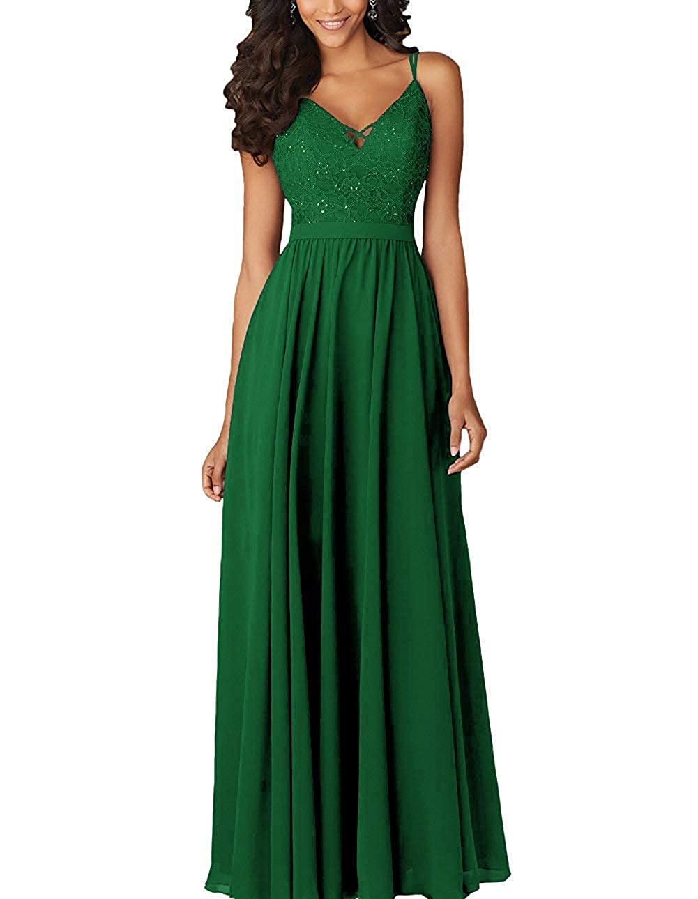 Green ZLQQ Womens Bridesmaid Dresses Long Beaded Formal Spaghetti Strap Evening Party Gowns