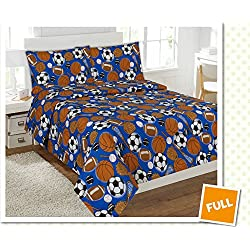 Fancy Collection 4 pc Kids/teens Sports Football Basketball Baseball Soccer Design Luxury Sheet set Full Size New