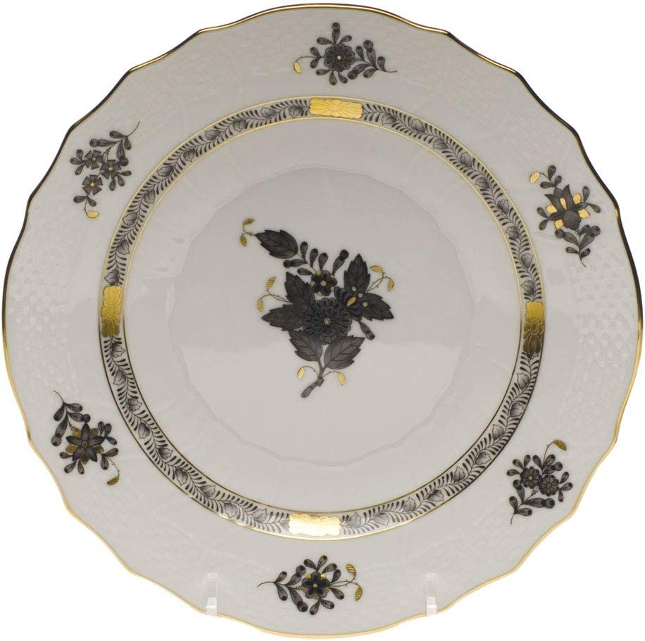 Herend Chinese Bouquet Black Porcelain Salad Plate