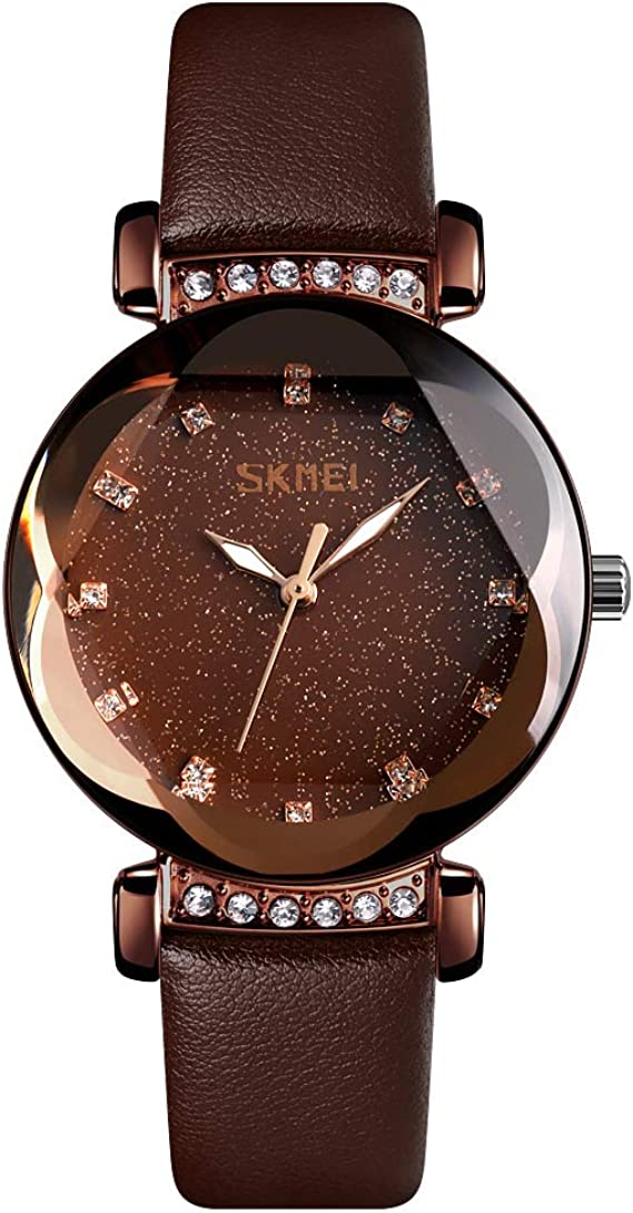 TONSHEN Relojes Mujer Fashion Estrellado Marcar Cristal Poligonal Analógico Cuarzo Elegante Casual Acero Inoxidable Caja y Piel Correa Reloj de Pulsera (Cafe): Amazon.es: Relojes