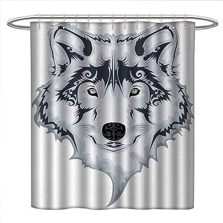 CHASOEA - Cortinas de ducha con diseño de tatuaje, con ganchos de ...