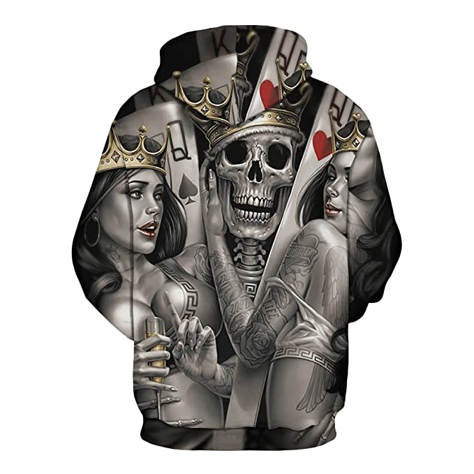 Amazon.com: Yuehen Skeleton Poker Hoodies Men Women Autumn Winter Sportswear Tracksuit Moleton: Clothing