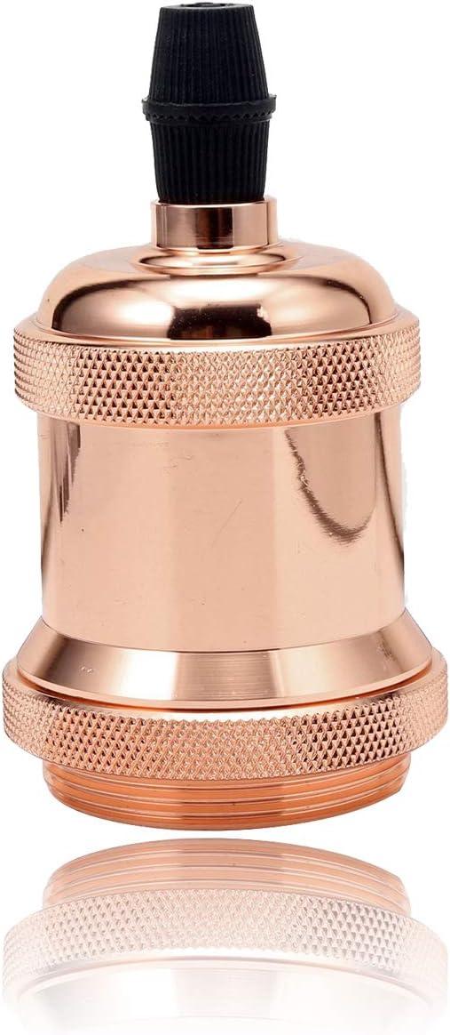 GreenSun LED Lighting Lustre Edison E27 Adaptateur De Douille Vintage Pour Lampoule LED R/étro Cuivre C/éramique /à Lint/érieur 110-220V Or rose