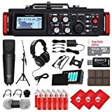 TASCAM 6-Track Linear PCM Digital Multitrack Audio Recorder/Mixer for DSLR Camera, Studio Microphone, 64GB Micro SD Card, Headphones, 3 pcs Microfiber Cloth and Accessory Bundle (DR-701D)