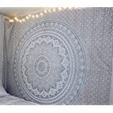 """Exclusive """"Twin Gray/silver Ombre Tapestry by JaipurHandloom"""" Ombre Bedding , Mandala Tapestry, Multi Color Indian Mandala Wall Art Hippie Wall Hanging Bohemian Bedspread"""