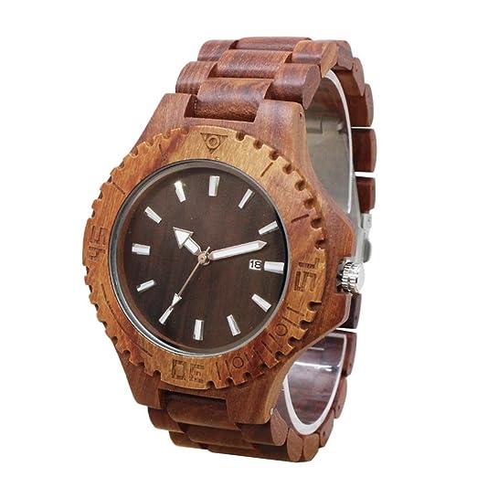 Espeedy La moda simple 2017 hombres de madera relojes de pulsera de madera correa reloj de cuarzo reloj hombre casual: Amazon.es: Relojes
