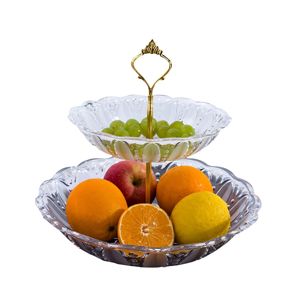 2 Tier Cake Stand and Fruit Plate Cupcake Clear Plastic Stand White for Cakes Desserts Fruits Candy Buffet Stand for Wedding & Home & Birthday Party Serving Platter yongyi