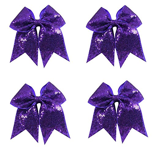 CN Sequin Cheerleader Hair Bow Big School Color Hair Bow With Elastic Tie For Cheerleading Girls (Sequin Bow Large)