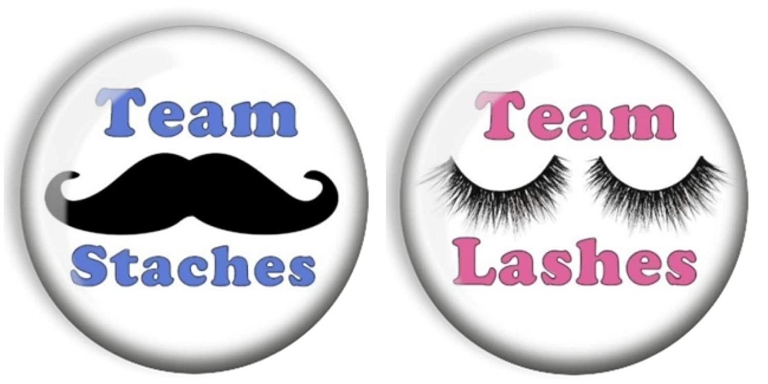 Pinback Pin Back Buttons 1-1//4 Team Staches /& Team Lashes Pink /& Blue Gender Reveal,Boy Girl,Baby Shower Party Favor Round Set of 24