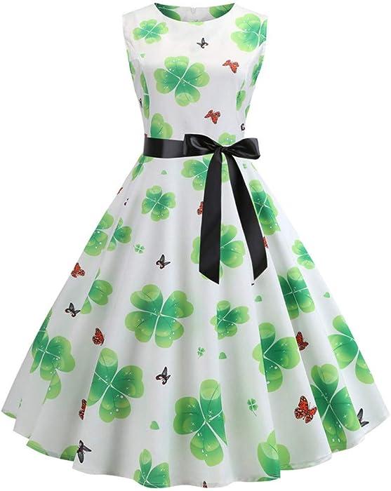 0bb64b7d3a1a Ireland St. Patrick's Day Womens Shamrock Print Dress, NewlyBlouW 1950s Retro  Pleated Prom Swing