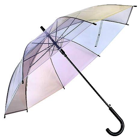 Lonior Paraguas Clásico Transparente para Mujer Apertura Automática Color del Arco Iris 100% Dinero Garantía